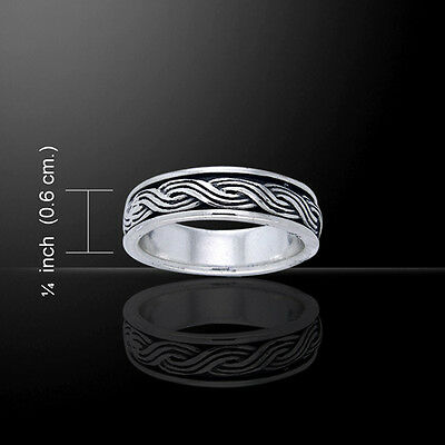 Celtic Knotwork Wedding .925 Sterling Silver Spinner Ring by Peter Stone