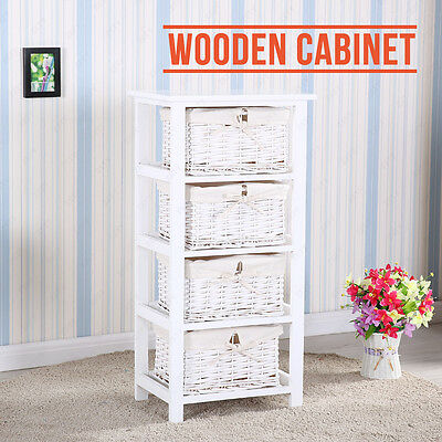 Retro Shabby Chic White Cabinet Storage With 4 Drawers Wooden Wicker Baskets