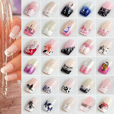 24Pcs Full Nail French Tips Natural Finger Toe False Fake Art Cover Manicure BGO