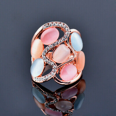Hollow Big Multicolor Opal Cubic Zirconia Rings Women Fashion Rose Gold Plated