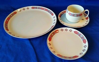 "VTG -W.S. GEORGE /CAVITT - SHAW "" IROQUOIS RED"" 4 Piece Set 1940s (Multiples)EXC"