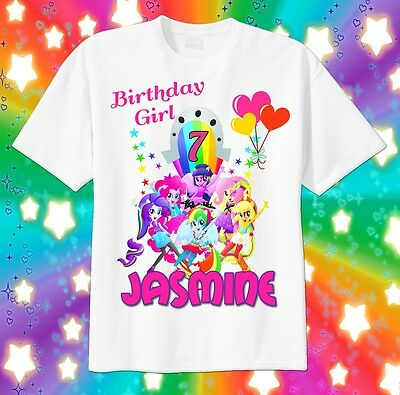 Equestria Girls BIRTHDAY Custom T-SHIRT Personalize tshirt Choose Name and Age