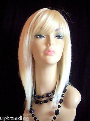 100% Real Human Hair Lady Wig Smooth Layer Skin Top Yellowish Pale Blonde 613#