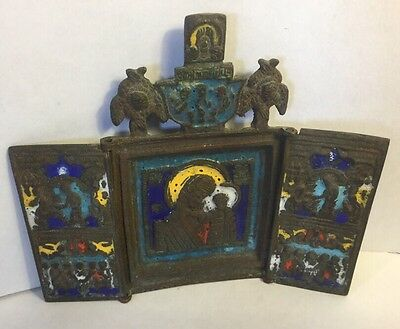 Antique Russian Bronze Enamel Triptych Traveling Icon TIKHVINSKAYA MOTHER OF GOD
