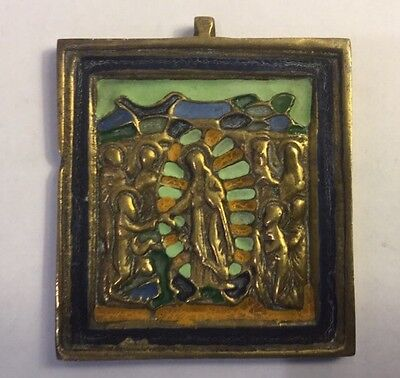 Antique Russian? Religious Bronze & Enamel Icon