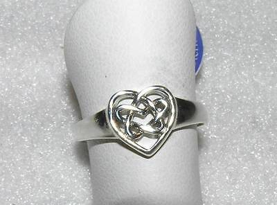 Celtic Love Knot Heart Ring Sterling Silver Size 4, 5, 7, 8, 10