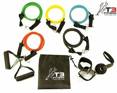 T3 Fitness Resistance Bands Set, 5 Tubes With Handles, Door Anchor, Ankle Strap