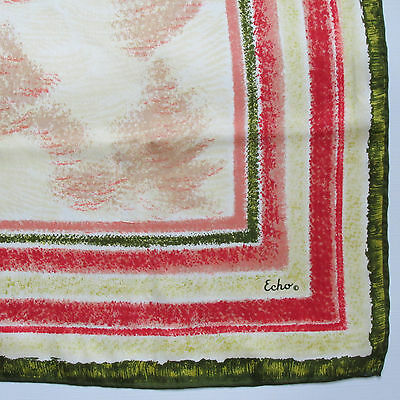 """Vintage Echo Silk Scarf 26"""" Square Hand Rolled Hem Pink Green Abstract Print"""