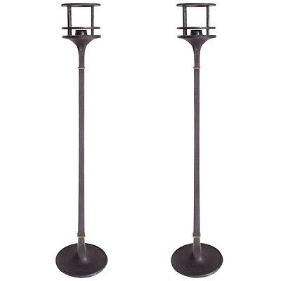 Vintage 60's Modernist Pair Of Tall Dansk Candlesticks By Jens Quistgaard