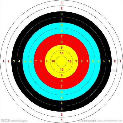 Archery Paper Face Target Archery Shooting Target Partice Paper 40x40cm Outdoor