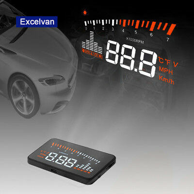Universal 5.5'' LCD HUD Car Head Up Display OBD2 II Fuel Speeding Warning System