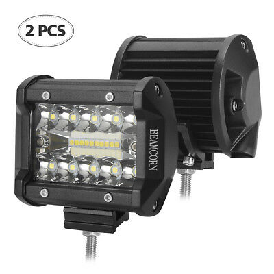 2X 4 inch 60W Led Pods Light Bar Spot+Flood Combo Driving Light Ford JEEP Boat