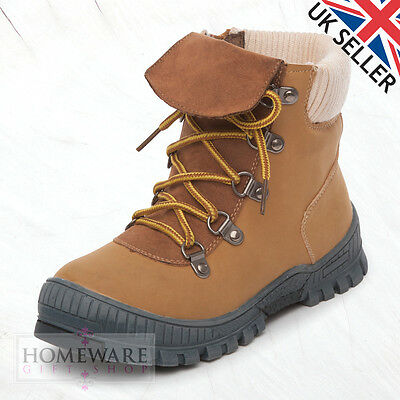 Boys Ankle Boots Winter Warm Zip Up Boot Kids Girls Beige Boots Uk Size 10 - 3