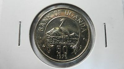 Uganda 50 Cents, 1976, KM 4a, UNC, 1 year type, Rare