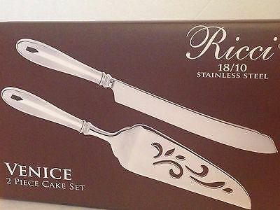 Venice 2 Piece Cake Set By Ricci 18/10 Stainless Steel