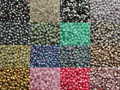 3mm Facet 100pcs Czech Fire Polished Small Glass Round Beads Faceted 150 COLORS