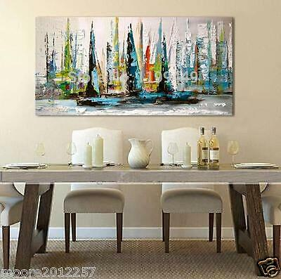 modern Large hand-painted art Oil Painting sailboat canvas NO framed size 24X48""