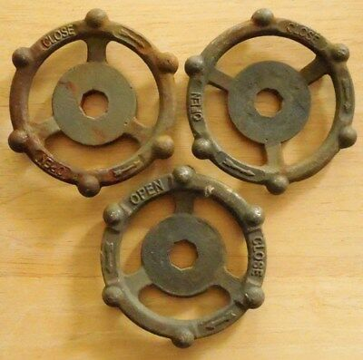 (3) Industrial Oil & Gas Refinery Cast Iron Water Valve Handles Steampunk Art #4