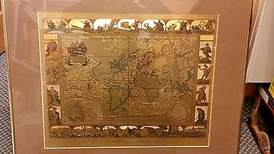 Vintage Gold Foil Map Of The World From An Original Engraving By Moses Pitt 1681