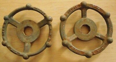 (2) Industrial Oil & Gas Refinery Cast Iron Water Valve Handles Steampunk Art #7