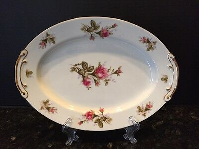 Vintage FLORAL PARK China Moss Rose Japan Oval Serving Meat Platter 12 X 8.5""