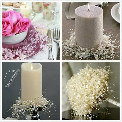 String Ivory White Pearl Acrylic Bead Garland Spool Bouquet Wedding Party Decor