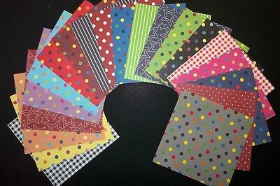 "*ASSORTED BASICS""x 20 - Scrapbooking /Cardmaking Papers *15cm x 15cm*  (6"" X 6"")"