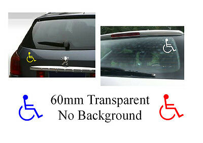 Disable disabilality Vinyl Sticker transparent no background 60mm diameter cars