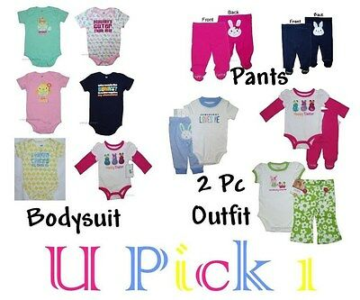 Easter 1st Outfit Holiday Bodysuit Shirt Pants Boys Girls Creeper Bunny Baby