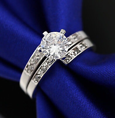 18K Gold Gf 2Ct Solitaire Diamonds Infinity Engagement Wedding Womens Solid Ring