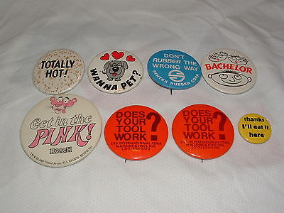 8 Vintage Sexy Sexual Sayings Slogans Phrases Suggestive Pinback Button Pins