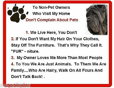 Funny Dog Neapolitan Mastiff House Rules Refrigerator / Magnet Gift Card Idea