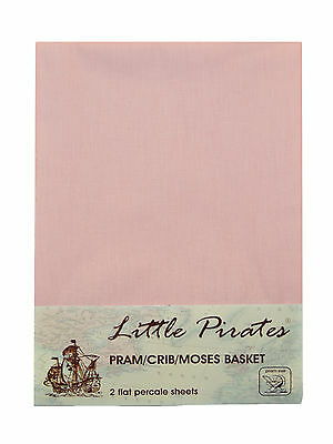 2 x Baby Pram/Crib/ Moses Basket  Flat Sheet 100% Luxury Cotton Pink