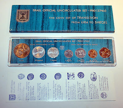 1980 Official Lira & Sheqel Uncirculated Coin Set