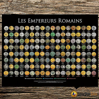 Les Empereurs Romains - Coin Wall Poster - The Roman Emperors French Version