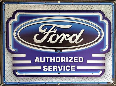 Ford Authorized Service New Design Neon Style Banner Sign Garage Art 4' X 3'
