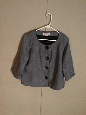 Michael Kors Women's Houndstooth ButtonSnap Up Blazer Size L