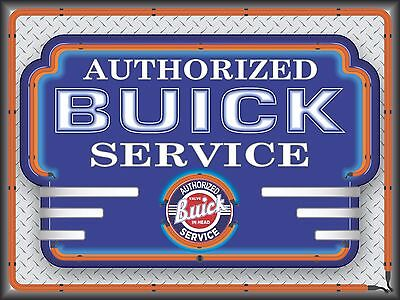 Buick Authorized Service New Design Neon Style Banner Sign Art Large 4' X 3'