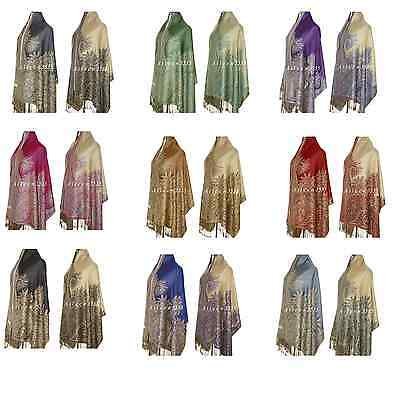 Triple Layer Pashmina & Silk Paisley Shawl/Wrap
