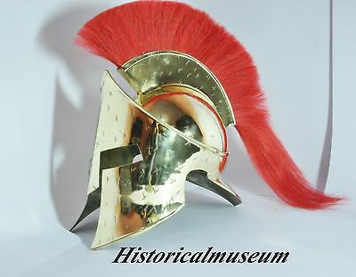 Medieval Brass Greek 300 Helmet Xswaq74Ss8X00 King Leonidas With Red Plume