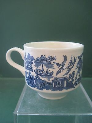 Churchhill Blue Willow Footed Coffee Mug Made In England