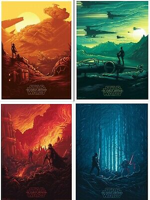 STAR WARS THE FORCE AWAKENS Set of 4 Original Promo Movie Posters IMAX 2015 AMC