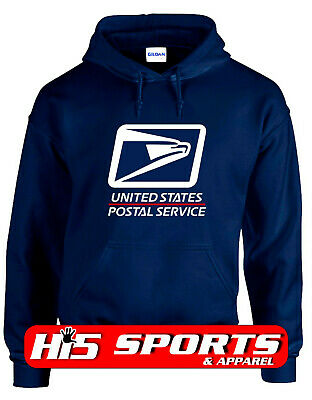 USPS POSTAL HOODIE #1 Hooded Sweatshirt Logo on Chest United States Service NAVY