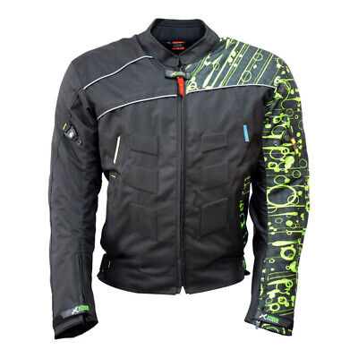 Mens Motorcycle Motorbike Jacket Waterproof Textile Cordura Black CE Kawasaki
