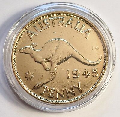 1945 Circulated Australian Penny Coin 999 24k Gold HGE in Acrylic Capsule. KG V1