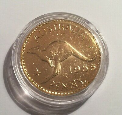 1955 Circulated Australian Penny Coin 999 24k Gold HGE in Acrylic Capsule. QE 11
