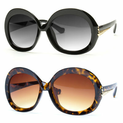 Vintage Large Retro Men Women Round Frame Sunglasses Glasses Eyewear Black Lens