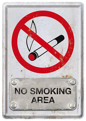 Retro Tin Metal Postcard 'NO SMOKING AREA' Mini Sign 10 x 14cm Steel-look design