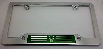punisher hmc billet aluminum license plate frame clear anodized green badge