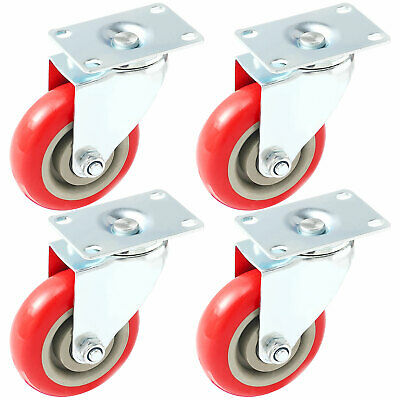 4 Pack 3 Inch Caster Wheels Swivel Plate On Red Polyurethane Wheels PU